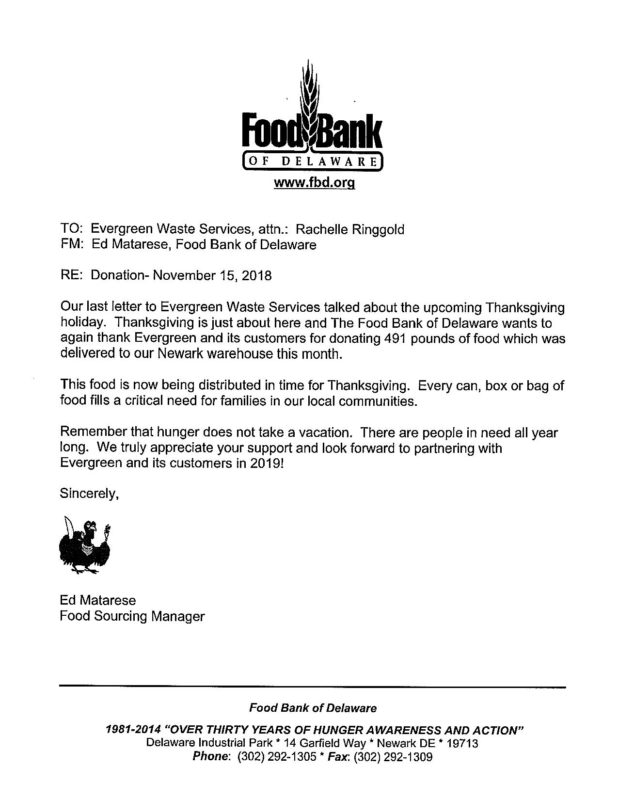 Thank You Letter For Food Donation from evergreenws.com